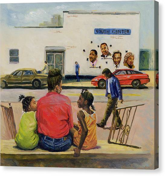 Stoops Canvas Print - Summer City Stoop by Colin Bootman