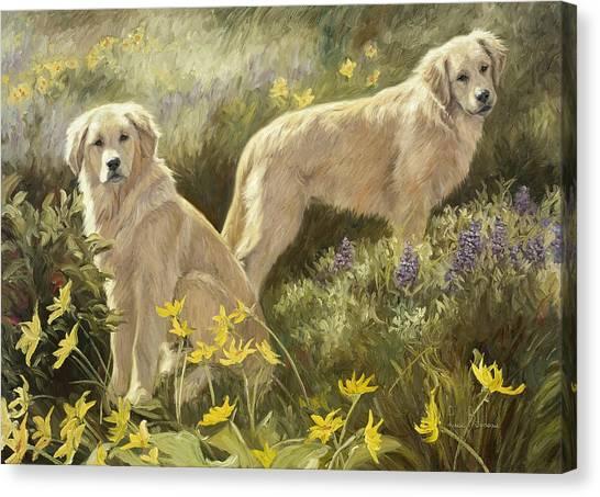 Golden Retrievers Canvas Print - Summer Day by Lucie Bilodeau