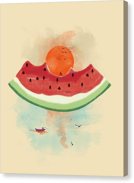 Melons Canvas Print - Summer Delight by Neelanjana  Bandyopadhyay