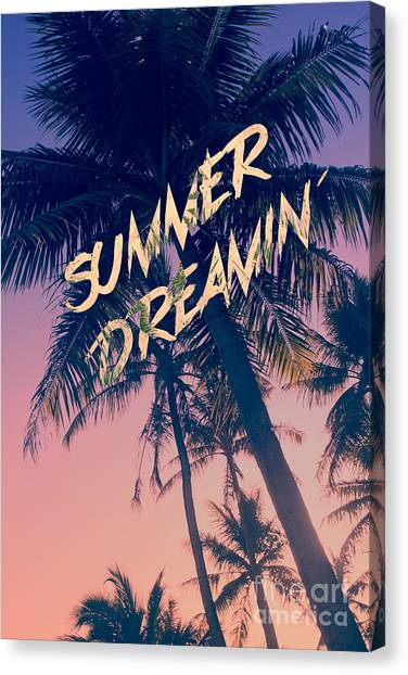Summer Dreamin Tropical Island Palm Trees Sunrise Canvas Print