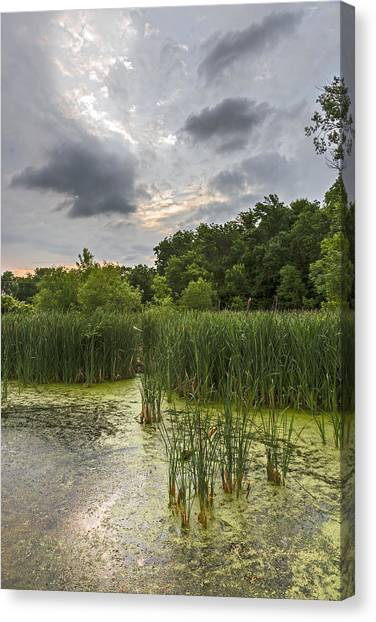 Canvas Print featuring the photograph Summer Evening Clouds by Edward Peterson