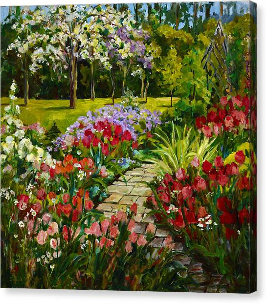 Summer Flower Garden Canvas Print By Ingrid Dohm