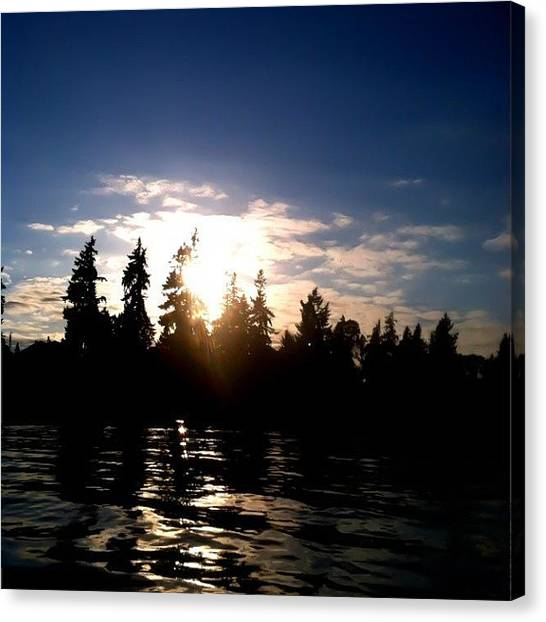 Lake Sunsets Canvas Print - #summer #fun #lake #richpeople #oregon by Curtis Hoskins