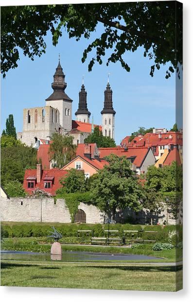 Summer Green Medieval Town Canvas Print