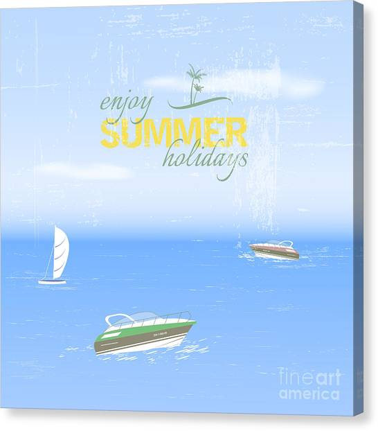 Yacht Canvas Print - Summer Holidays Background By The Sea by Ftotti10