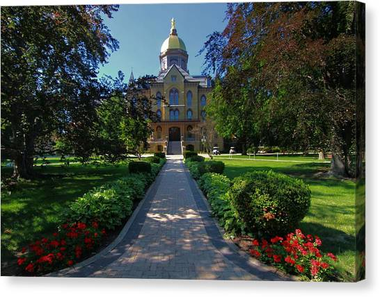 Notre Dame Canvas Print - Summer On Notre Dame Campus by Dan Sproul
