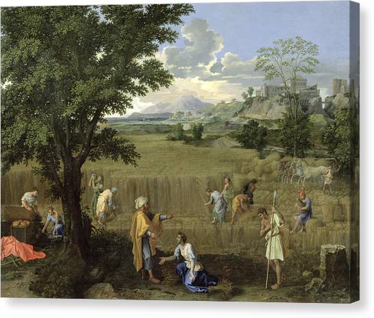 Corn Field Canvas Print - Summer, Or Ruth And Boaz, 1660-64 Oil On Canvas by Nicolas Poussin
