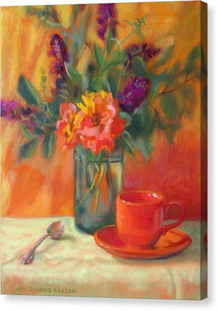 Summer Song- Orange Roses And Butterfly Bush Blooms Canvas Print