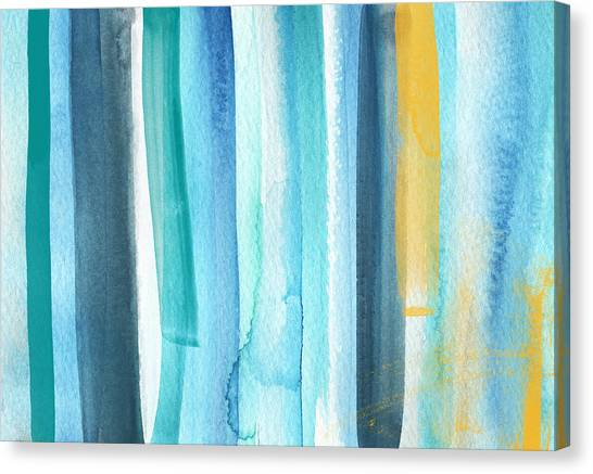 Blue Sky Canvas Print - Summer Surf- Abstract Painting by Linda Woods