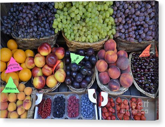 Summer Variety Of Fruits In Italy Canvas Print by Sami Sarkis