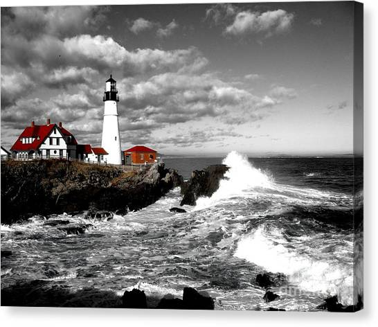 Summer Waves Red Stroke Bw Canvas Print