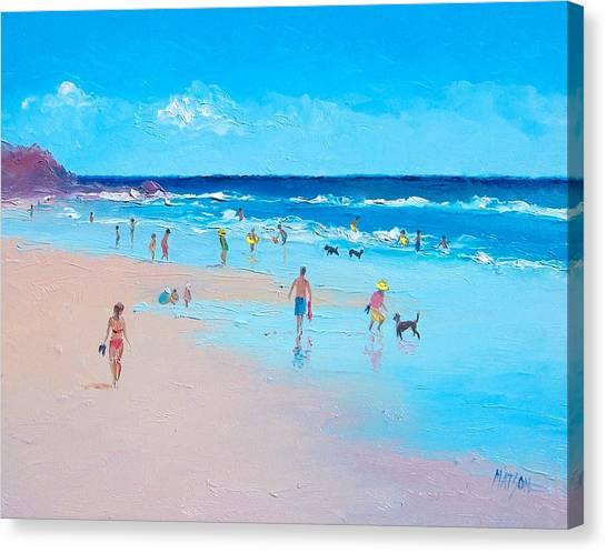 People Walking On Beach Canvas Print - Summertime by Jan Matson