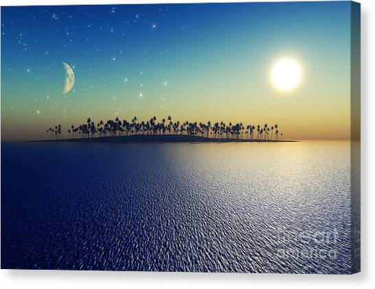 Night Lights Canvas Print - Sun And Moon by Aleksey Tugolukov