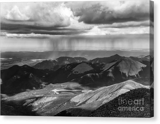Sun And Rain On Pikes Peak Canvas Print