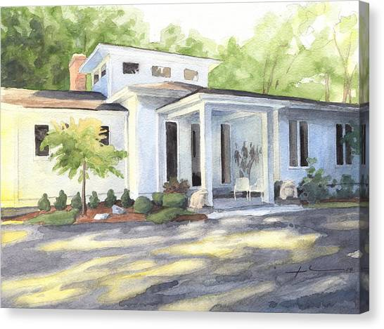 Sun And Shadow House Watercolor Portrait Canvas Print by Mike Theuer