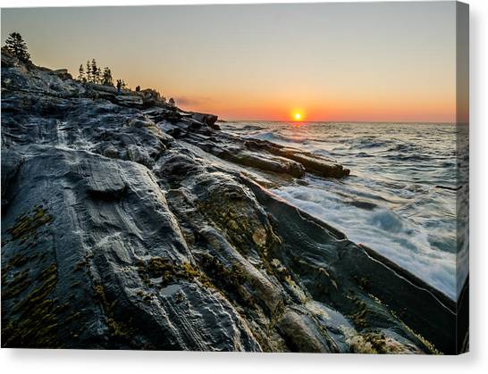 Canvas Print featuring the photograph Sun Breaks At Pemaquid Point by At Lands End Photography