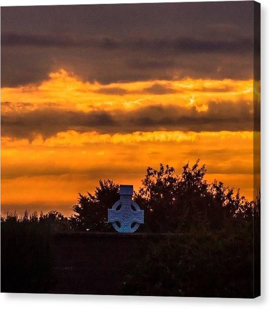 Red Cross Canvas Print - #sun #dawn #clouds #red #orange #grave by Anbu Mps