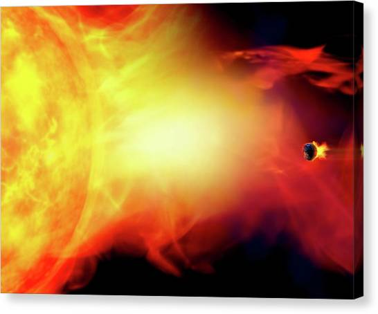 Sun Engulfing The Earth Canvas Print by Victor Habbick Visions/science Photo Library
