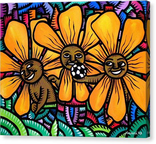 Sun Flowers And Friends Playtime 2009 Canvas Print