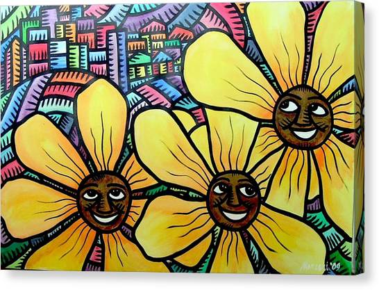 Sun Flowers And Friends Sf 2 2009 Canvas Print