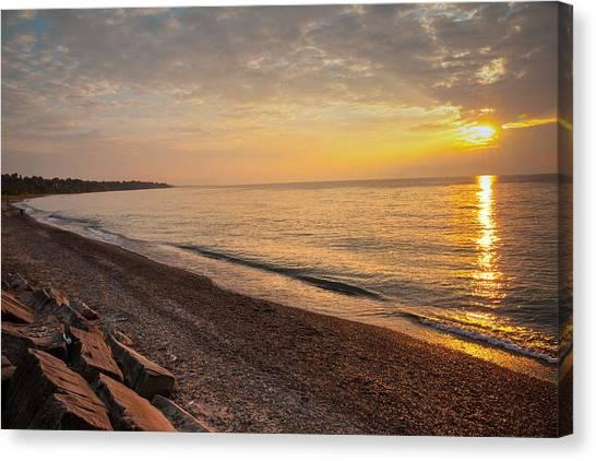 Canvas Print featuring the photograph Sun Over Lake Erie Shoreline by David Coblitz