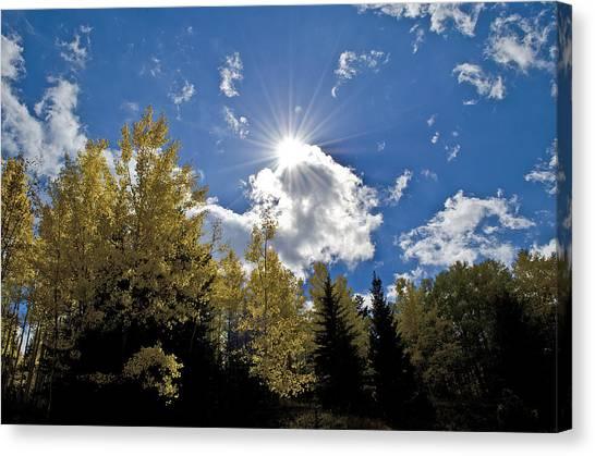 Sun Rays Across Colorado Mountain Canvas Print