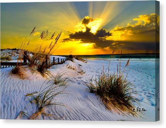 Sun Rays Golden Landscape Canvas Print