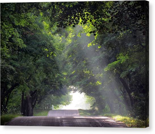 Sun Rays On Waters End Road Canvas Print