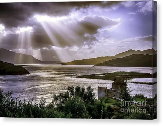 Sun Rays Over Eilean Donan Castle Canvas Print