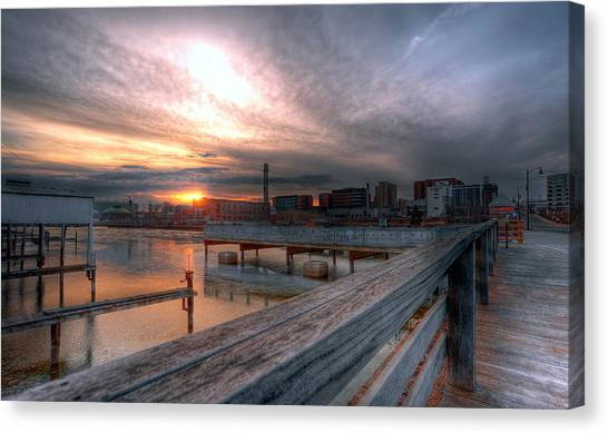 Sun Rise Over Erie Pa Canvas Print by Brian Fisher