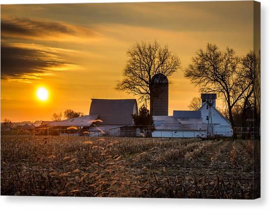 Sun Rise Over The Farm Canvas Print