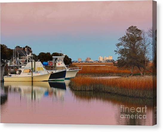 Sun Setting At Murrells Inlet Canvas Print