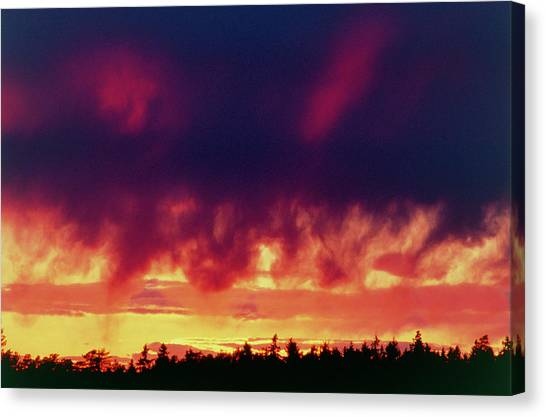 Sunset Horizon Canvas Print - Sun Setting Behind Cloud Over Forest by Pekka Parviainen/science Photo Library