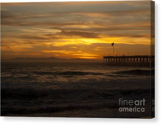 Sun Setting Behind Santa Cruz With Ventura Pier 01-10-2010 Canvas Print