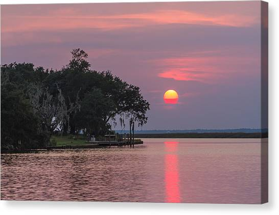 Sun Setting In The Bayou Canvas Print