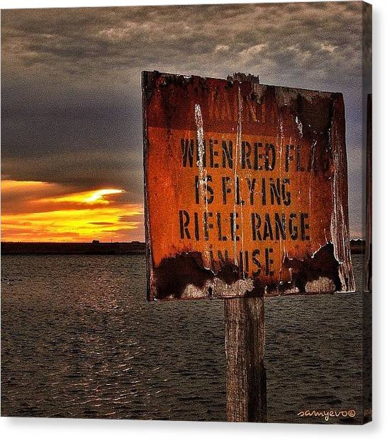 Rifles Canvas Print - #sun #sunrise #riflerange #rifle #gun by Sammy Evans