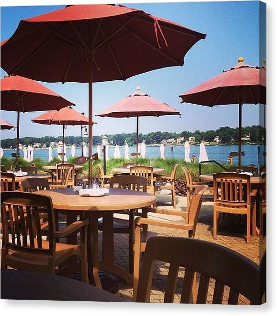 Restaurants Canvas Print - Sun Umbrellas by Christy Beckwith