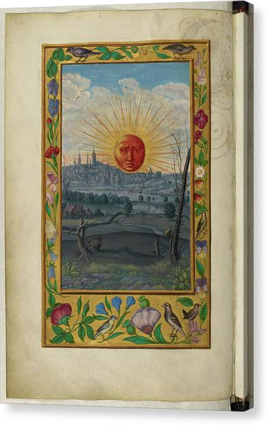 City Sunrises Canvas Print - Sun With Human Face Rising by British Library