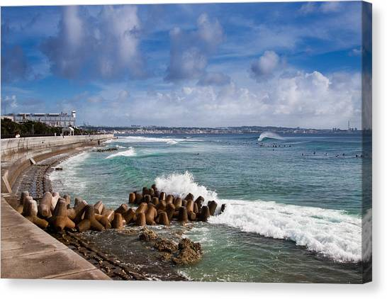 Sunabe Seawall Surf Canvas Print by Chris Rose