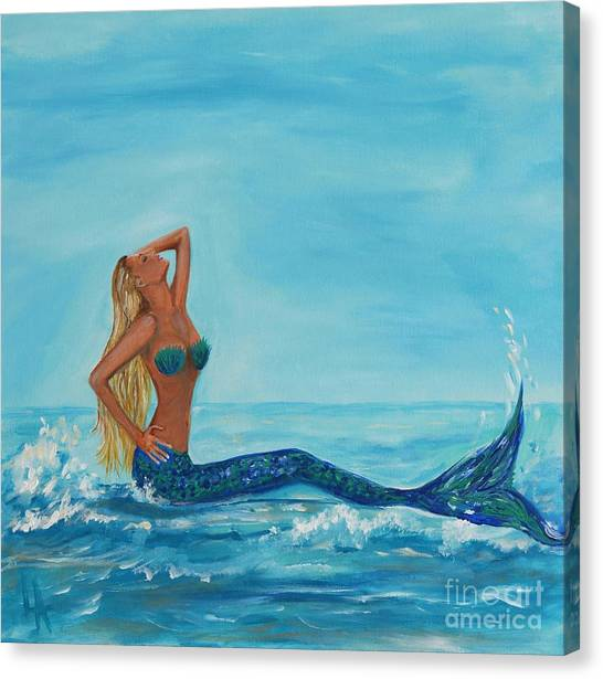Sunbathing Mermaid Canvas Print