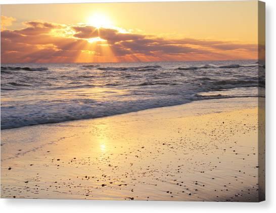 Sunbeams On The Beach Canvas Print