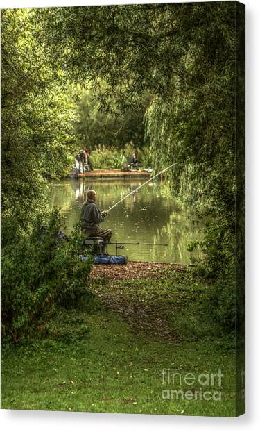 Sunday Fishing At The Lake Canvas Print