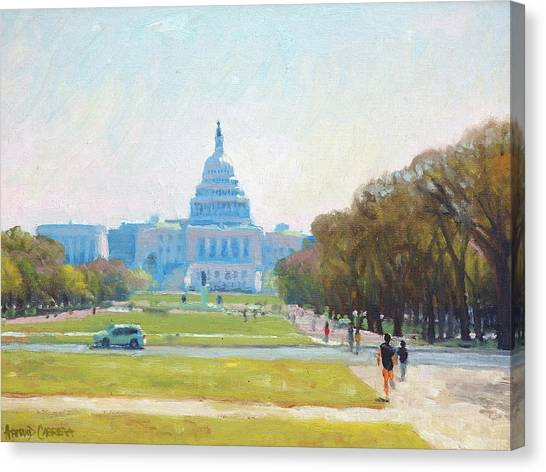 Mall Canvas Print - Sunday Morning At The Capitol by Armand Cabrera
