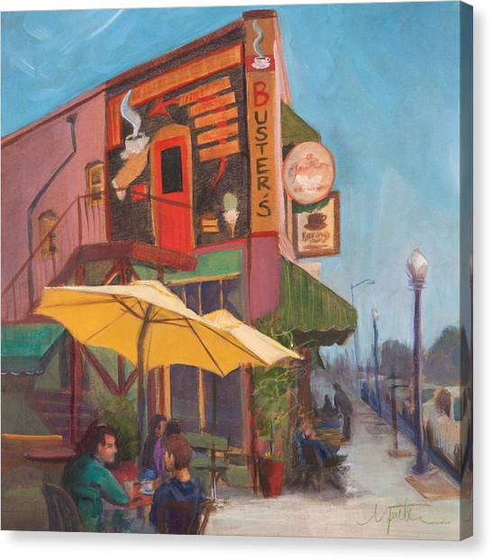 Coffee Shops Canvas Print - Sunday Morning by Athena Mantle