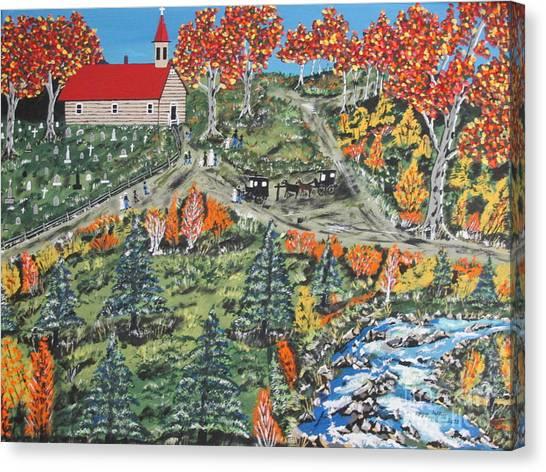 Church Yard Canvas Print - Sunday Morning by Jeffrey Koss