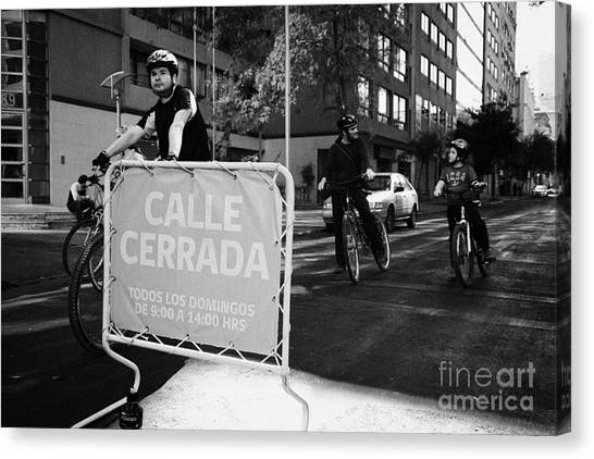 sunday morning roads closed for cyclists and walkers Santiago Chile Canvas Print by Joe Fox