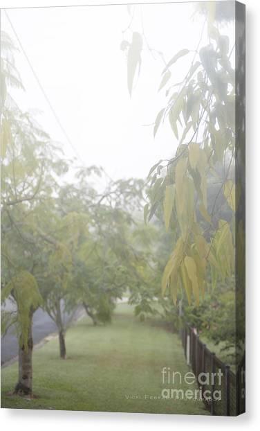 Canvas Print featuring the photograph Sunday Street Fog by Vicki Ferrari