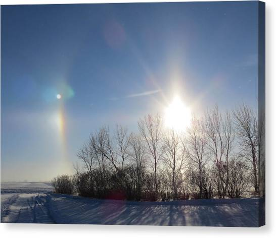 North Dakota Canvas Print - Sundog In North Dakota by Christy Patino
