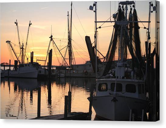 Sundown At Marshallberg Harbor Canvas Print