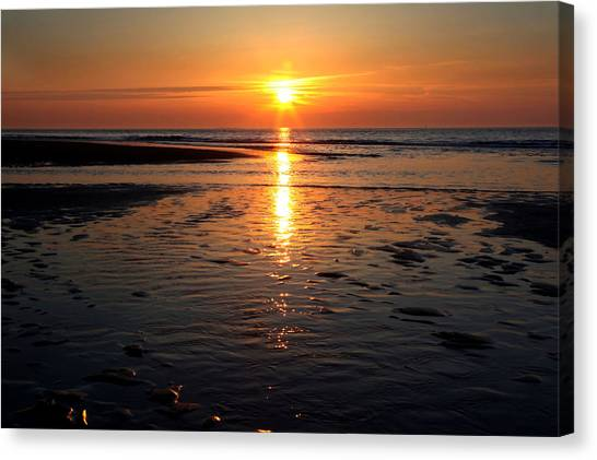 Sundown At The North Sea Canvas Print